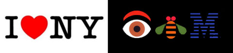 Milton Glaser's I Heart New York and Paul Rand's Eye Bee M logos. (9k image)